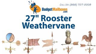 "Budgetmailboxes.com | Good Directions 515v1 27"" Rooster Weathervane - Blue Verde Copper"