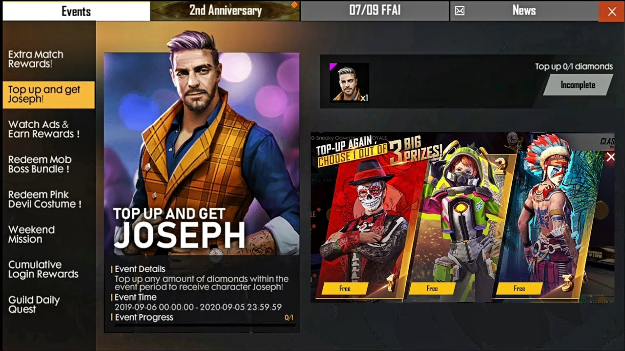 Top Up 1 Diamond And Again Get Free Joseph Character Bundle Free Fire New First Topup Event