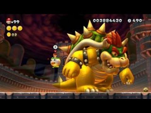 New Super Mario Bros. U - All 18 Boss Fights - Koopalings, Boom Boom, Kamek, Bowser Jr. & Bowser