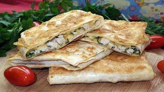 Конвертики из лаваша с курицей и сыром Горячая закуска из лаваша Блюда из лаваша
