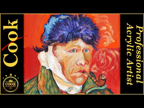 Colorful Acrylic Portrait of Vincent Van Gogh  Easy Guided Step by Step Tutorial