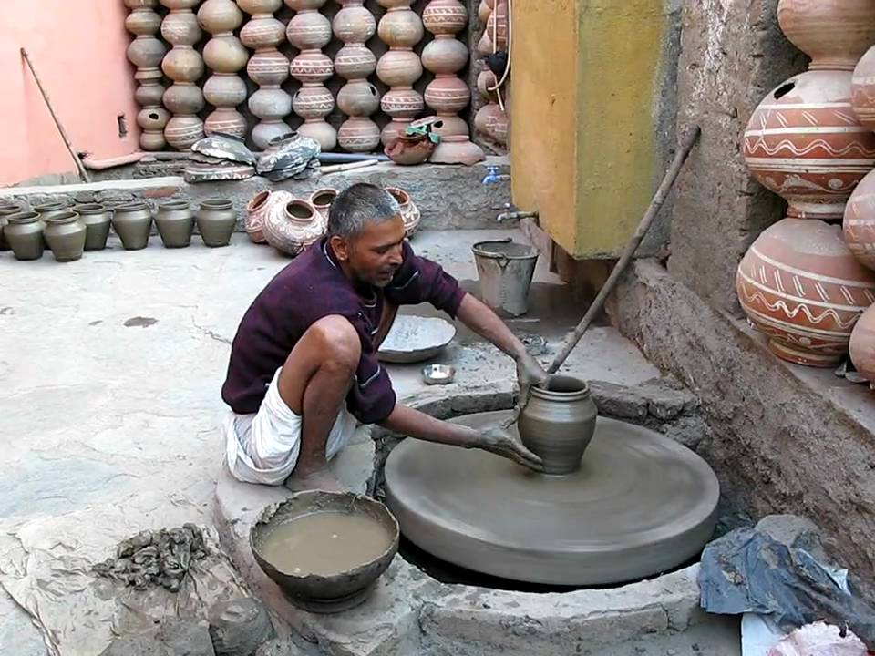 Man Making Pottery Outside Udaipur India Youtube