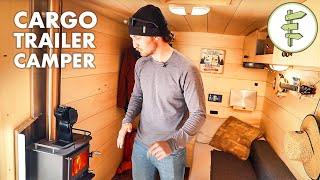 Skier's Cargo Trailer Conversion into Stealth Off-Grid Camper