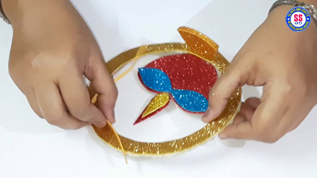 Amazing Wall Hanging Diya For Diwali Home Decor Hanging Diya Making With Glitter Foam Sheet Youtube