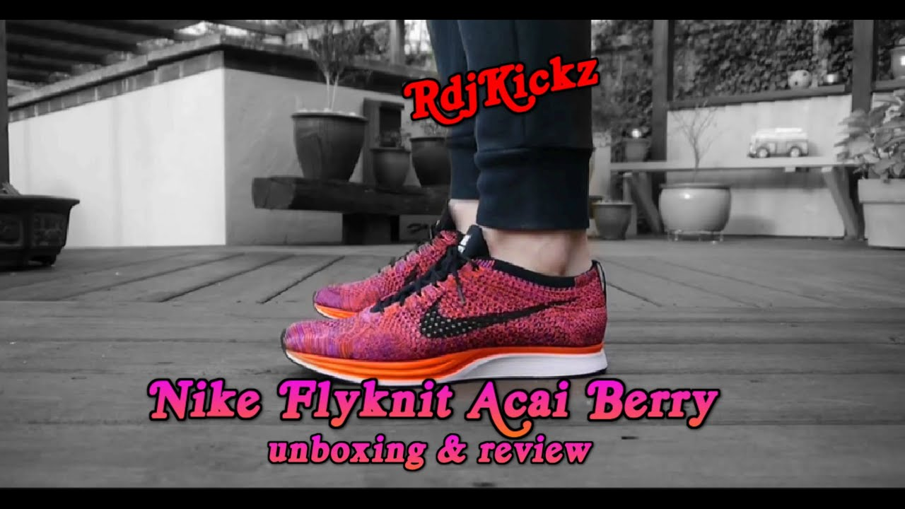 c43d7215f0743 Nike Flyknit Racer  Acai Berry  Unboxing On Foot - YouTube
