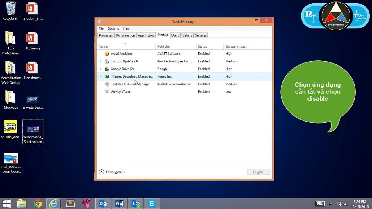 Hướng dẫn tắt ứng dụng khởi động cùng Window 7 & Window 8