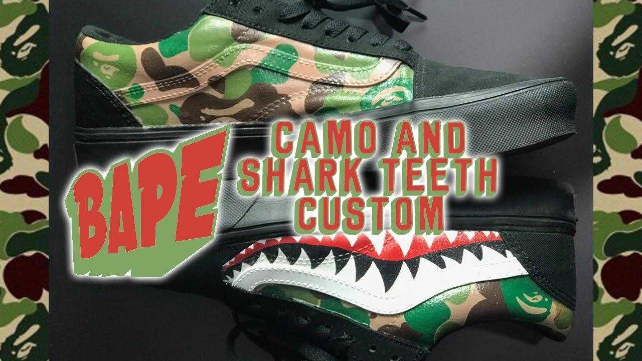 227828dad18 DIY  Waterproof Custom Bape Shark Teeth Vans   On Feet Video - YouTube