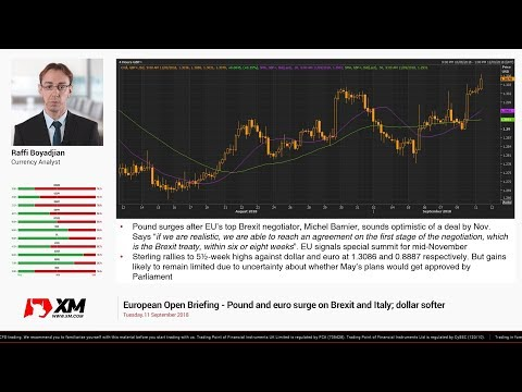 Forex News: 11/09/2018 - Pound and euro surge on Brexit and Italy; dollar softer