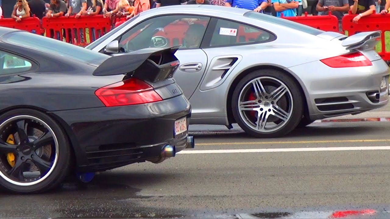 Porsche 911 Turbo 997 vs Porsche Carrera 9FF 911 996 - 1/4 ...