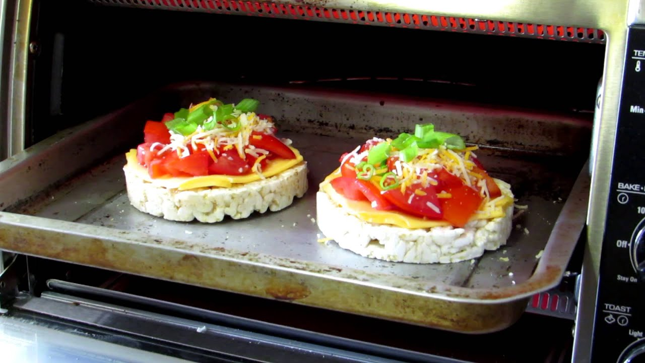 Toasted Tomato and Cheese Rice Cakes in the Toaster Oven