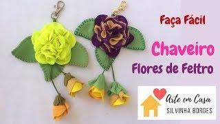 Faça fácil um lindo Chaveiro de Flores de Feltro