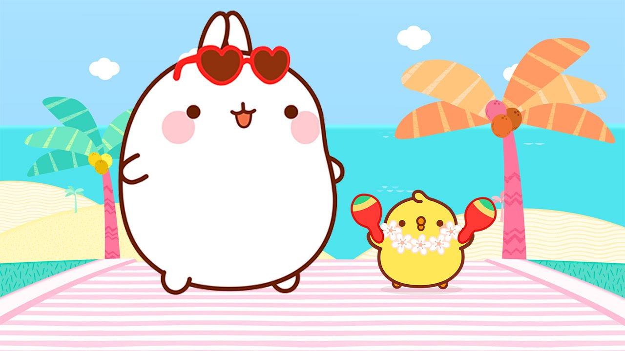Cute Tofu Desktop Wallpaper Molang And Piu Piu On Vacation Cartoons For Kids Youtube