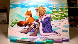 Footprints In The Snow | Copic Marker Illustration