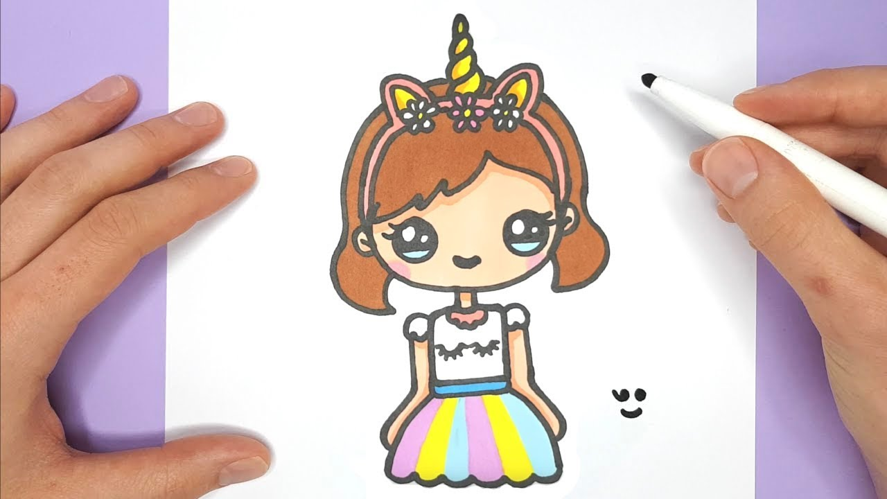 How to draw a cute unicorn girl super easy happy drawings unicorn