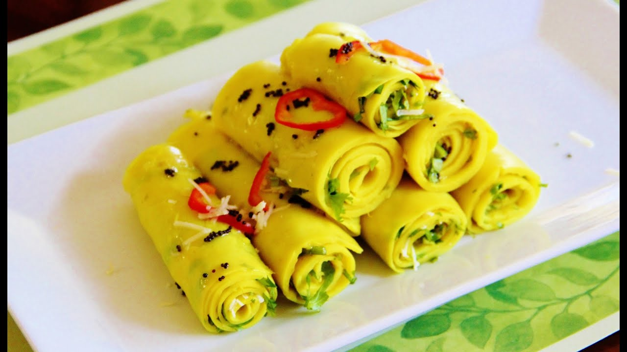 Pressure cooker khandvi video recipe by bhavna quick easy youtube forumfinder