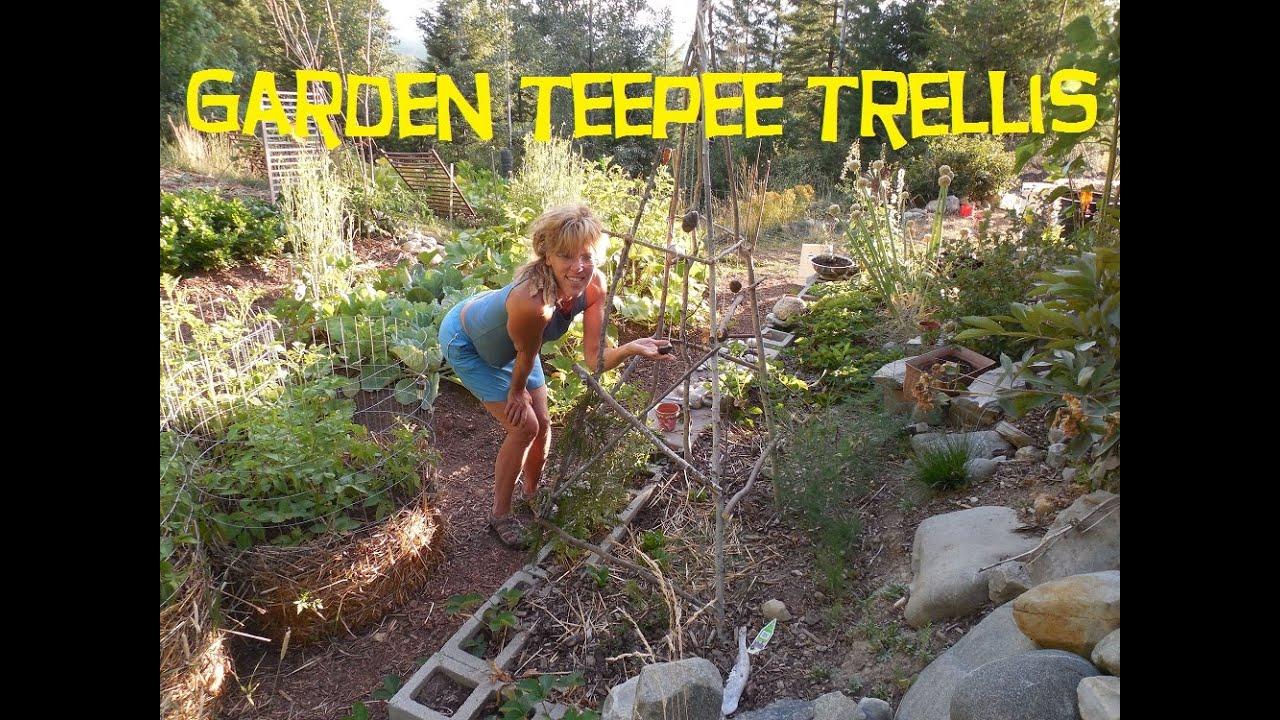 Back To Eden Garden:How To Build A Garden Trellis   YouTube