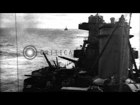 US Task Force attacks Japanese positions on Island of Wotje in Gilbert and Marsha...HD Stock Footage