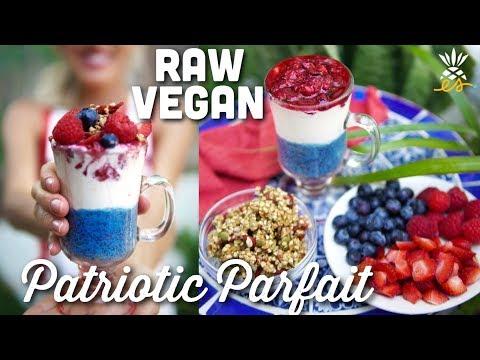 Chia, Yogurt, Fruit & Granola Parfait | Raw Vegan 4th of July