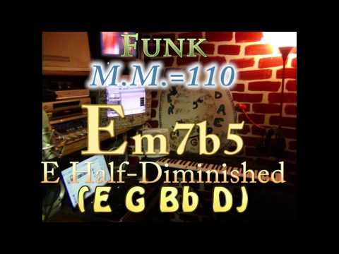 Em7b5 Half-Diminished (E G Bb D) One Chord Backing Track - Funk M.M.=110