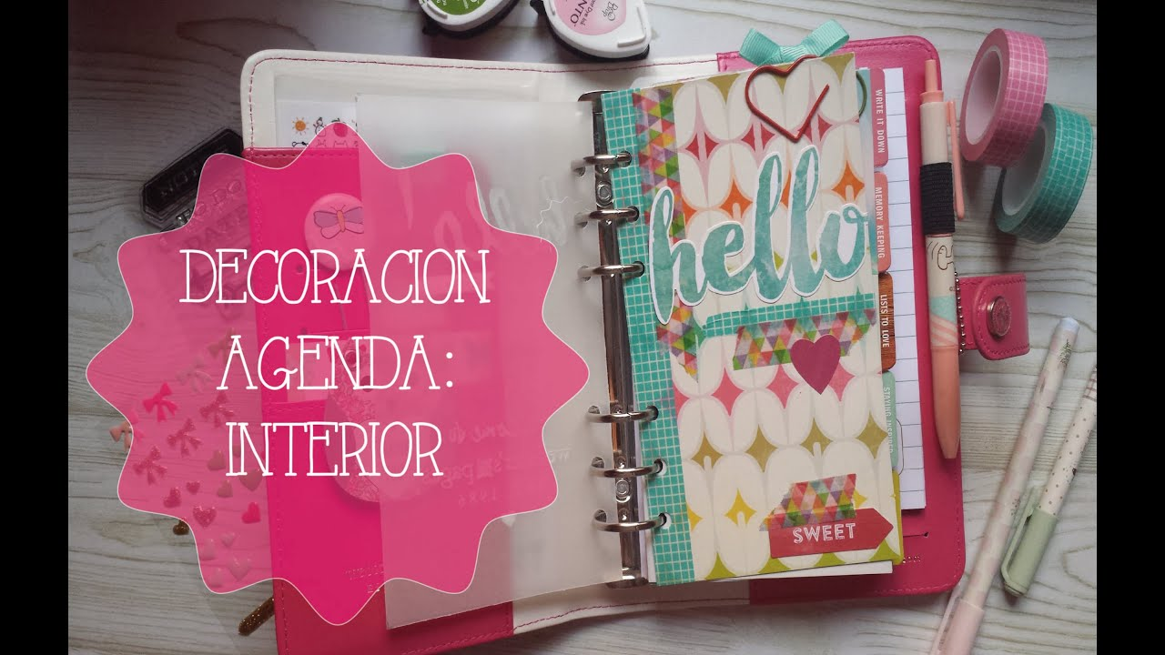 Decoraci n agenda parte interior youtube - Como decorar una agenda ...