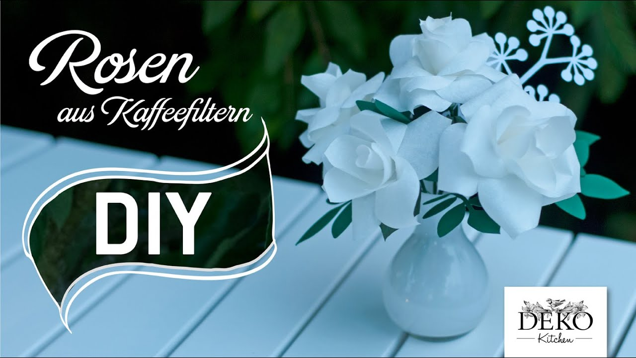 Diy romantische rosen aus kaffeefiltern deko kitchen for Deko kitchen papierblumen