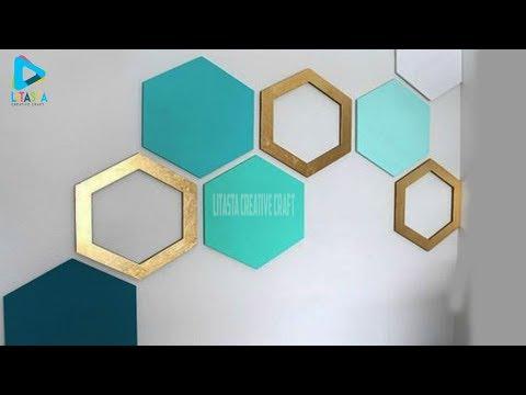 Ide mudah membuat  hiasan dinding hexagonal dari kardus bekas   DIY ROOM DECOR