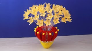 Home Decor DIY - Water Bottle Recycle Flower Vase with paper flower/ Best reuse idea - Woolen Design