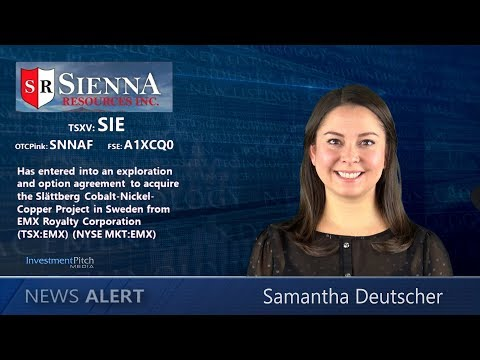 Sienna Resources enters into agreement to acquire the Slättberg Cobalt-Nickel-Copper Project