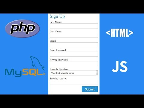 How To Create HTML Registration/sign Up Form Using Php,mysql,security Question - Complete