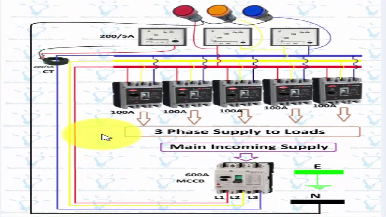 3 phase panel board wiring diagram in urdu hindi [ 1280 x 720 Pixel ]