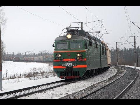 Грузовые поезда на перегоне Кожиль - Глазов Горьковской железной дороги.