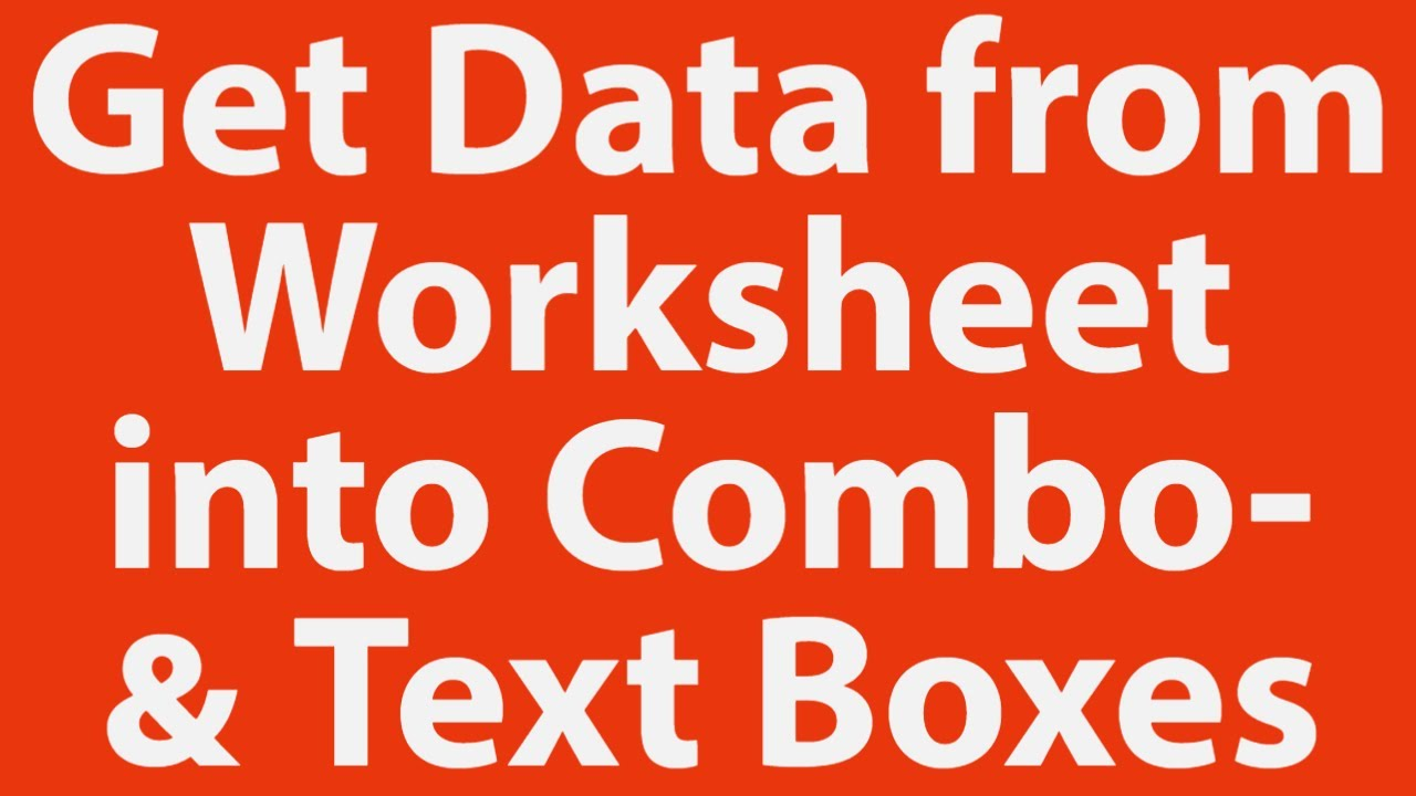 how to get data from worksheet into user form combox and text boxes with vba youtube. Black Bedroom Furniture Sets. Home Design Ideas