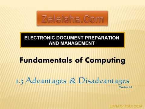 EDPM 1 3 Advantages and Disadvantages CXC CSEC