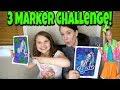 3 Marker Challenge JoJo Siwa Edition! Coloring Cartoon Art with Mom Unicorns, bows, JoJo