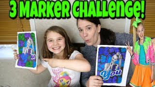3 Marker Challenge JoJo Siwa Edition! Coloring Cartoon Art with Mom Unicorns, bows, JoJo