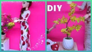 Tổng hợp cho Tết: cách may áo dài và làm chậu hoa mai chưng tết cho búp bê/ Ami DIY