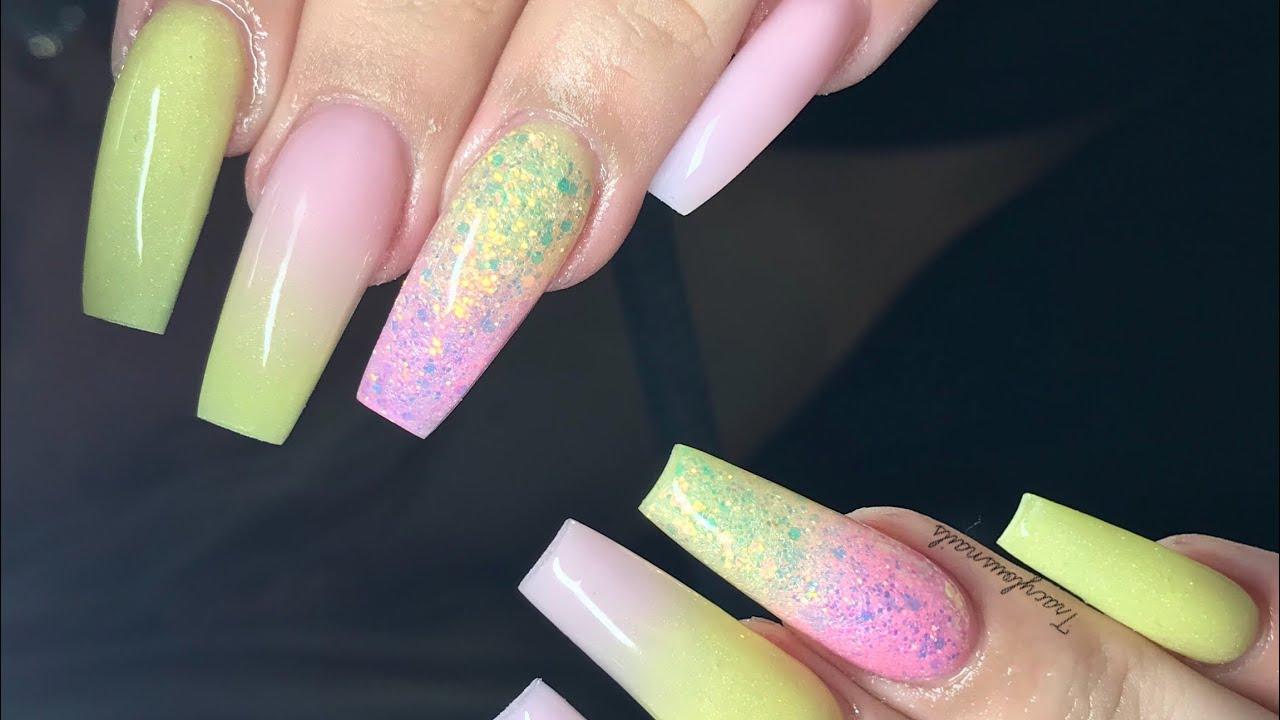 pink & yellow holiday nails acrylic