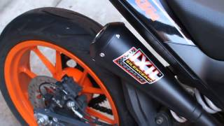 KTM Duke 390 with IXIL Dual Underseat slip-on exhaust system BLACK