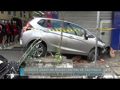 Idoso perde o controle do carro, invade calçada e atropela pedestres | Primeiro Impacto (14/06/18)