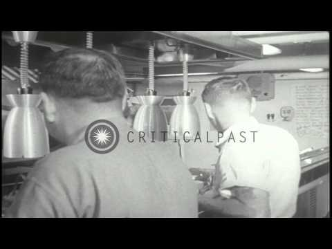 US Navy sailors serve food aboard USS Coral Sea underway in the South China Sea d...HD Stock Footage