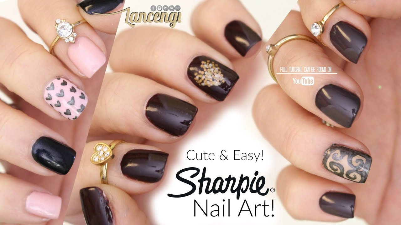 DIY Cute & Easy Nail Art For Beginners - Sharpie Nail ...