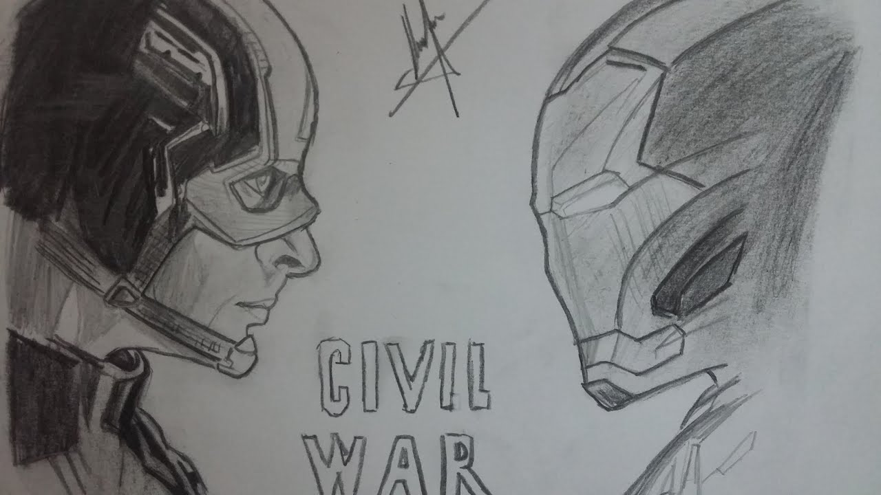 DIBUJO DE CAPITAN AMERICA VS IRON MAN: CIVIL WAR/ DRAWING