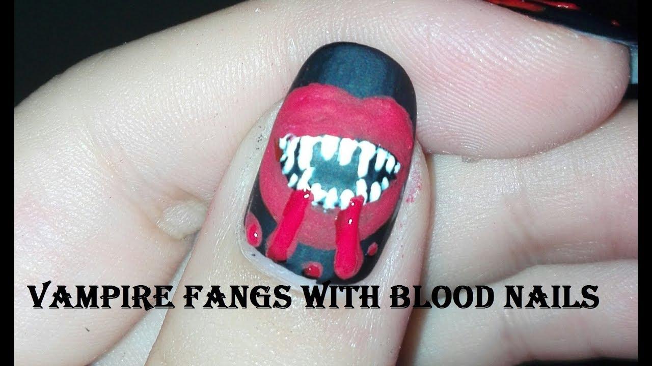 Vampire Diaries Nail Art Tutorial | Vampire Fangs-Halloween Nail Art ...