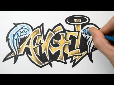 How to Draw ANGEL in Graffiti Writing , Rough Sketch Demonstration .