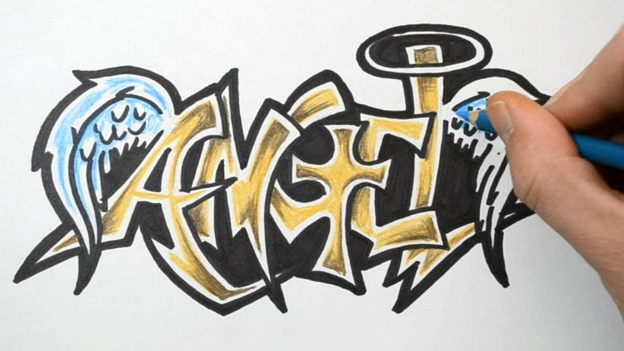 How to Draw ANGEL in Graffiti Writing - Rough Sketch ...