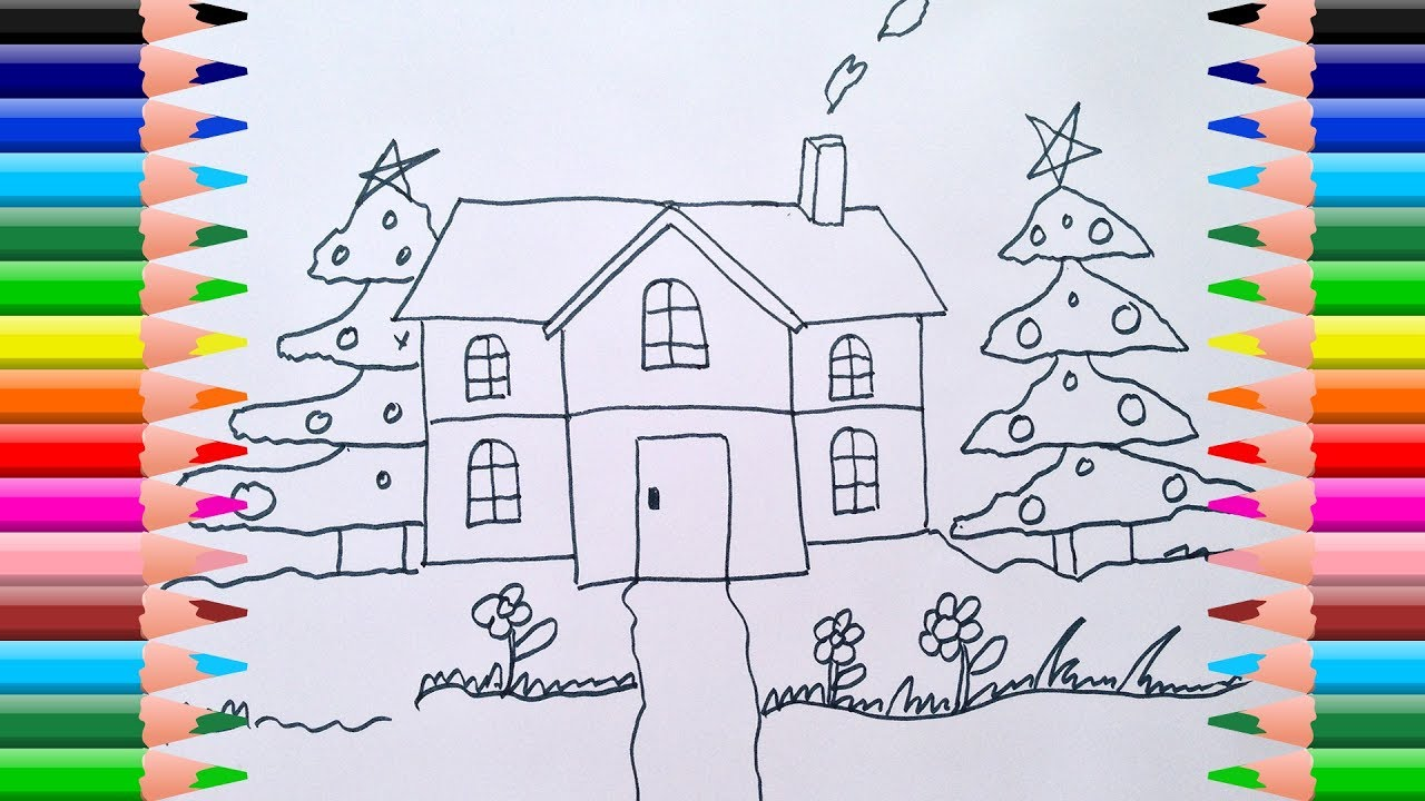 Colouring pages house and pine tree noel children learn to draw and learn colors