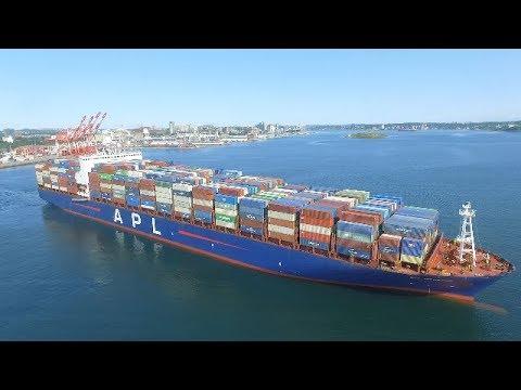 Aerial View of Container Ship APL HOUSTON Inbound Halifax, NS - Halterm Terminal