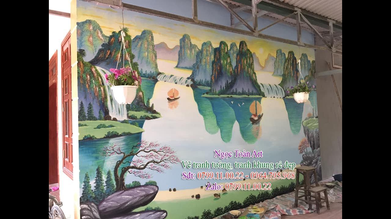 Vẽ tranh tường phong cảnh sơn thủy, thuận buồm xuôi gió, mã đáo thành công tại Hà Nội