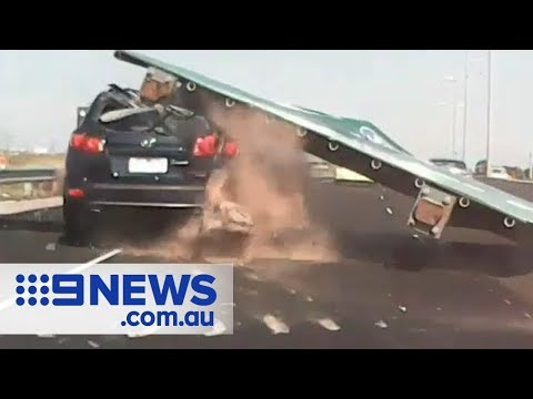 image for Highway Road Sign Falls On Car - Crushing It!!