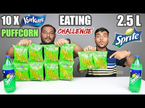 KURKURE PUFFCORN & 2.5 LITRE SPRITE CHALLENGE | Cheese Puffcorn Eating Competition | Food Challenge